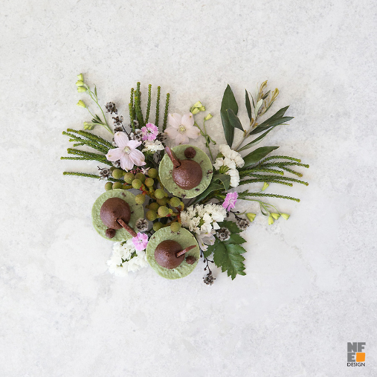 raw vegan desert food styling with flowers for MamaP